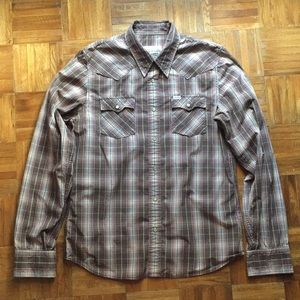 Western styling brown plaid button down